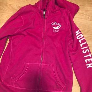 Pink Hollister zip up sweatshirt